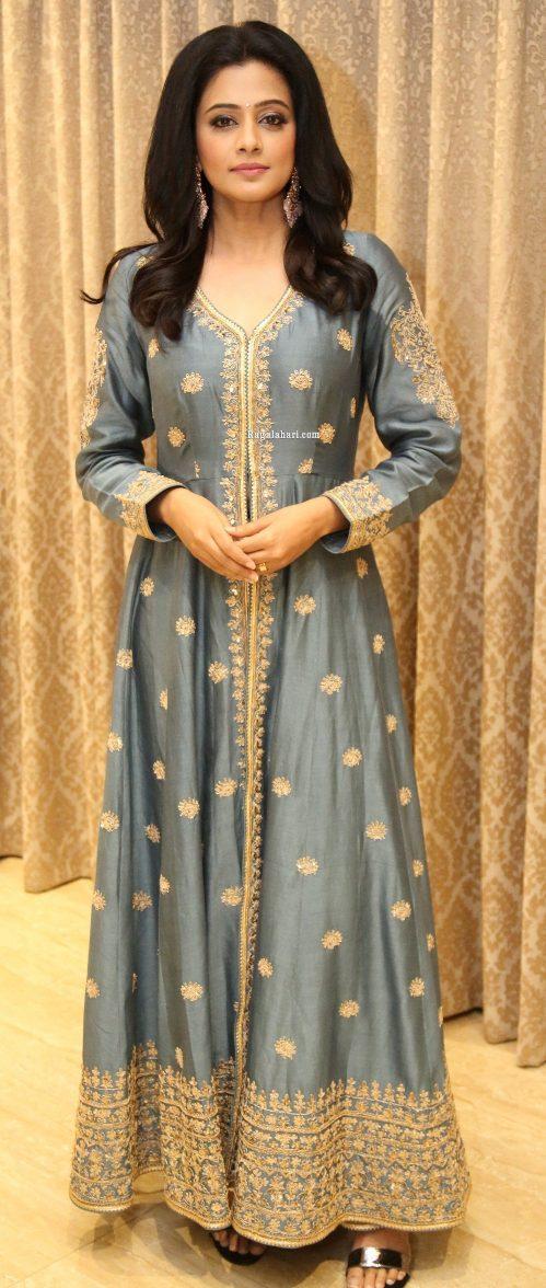 Priya Mani Raj in a grey front slit anarkali for Narappa success meet-2