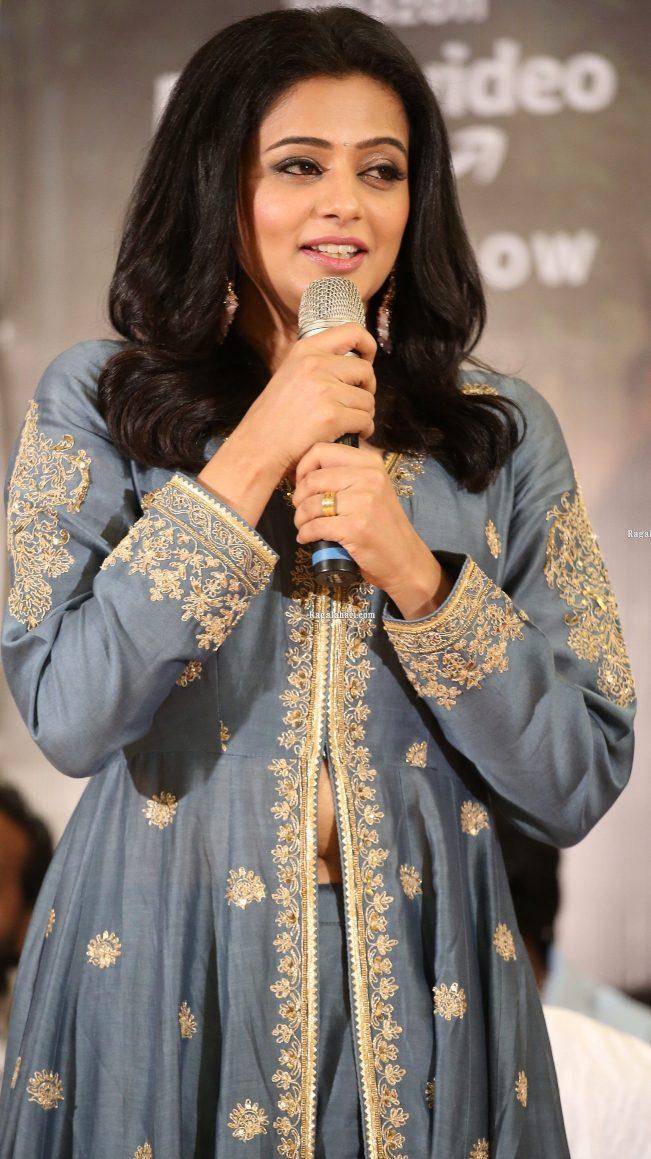 Priya Mani Raj in a grey front slit anarkali for Narappa success meet-3