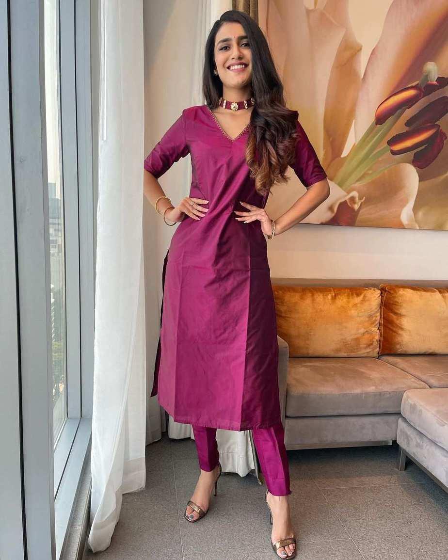 Priya Prakash Varrier in a burgundy kurta set by Paris De Boutique for Ishq promotions-1