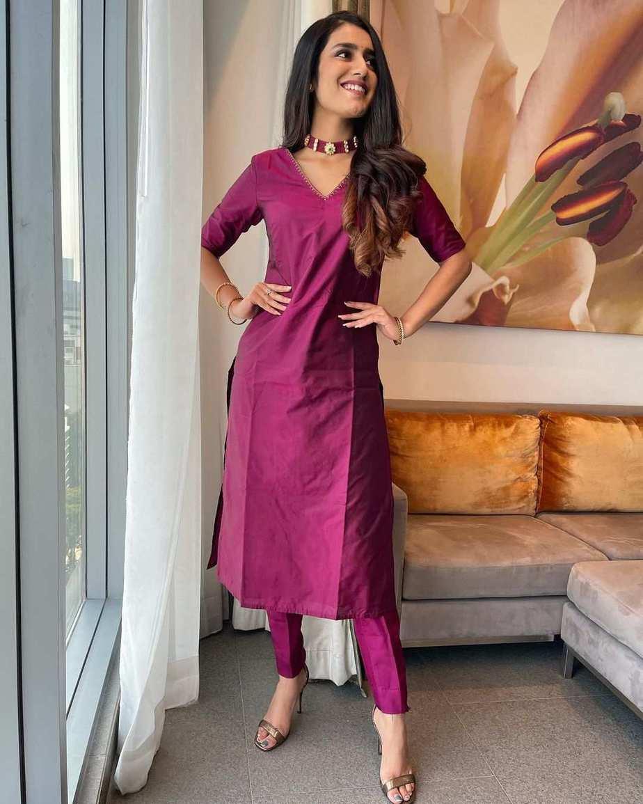 Priya Prakash Varrier in a burgundy kurta set by Paris De Boutique for Ishq promotions-2