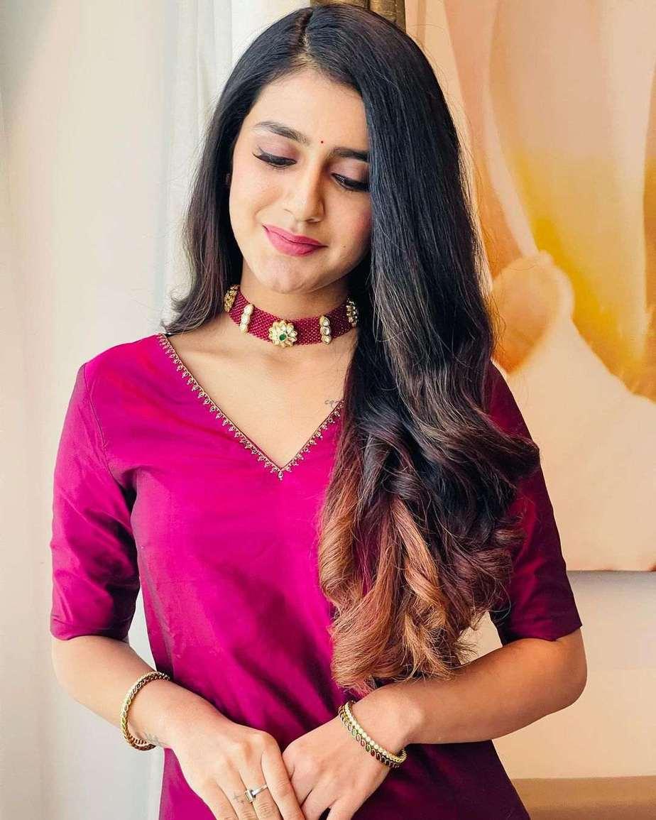 Priya Prakash Varrier in a burgundy kurta set by Paris De Boutique for Ishq promotions-3