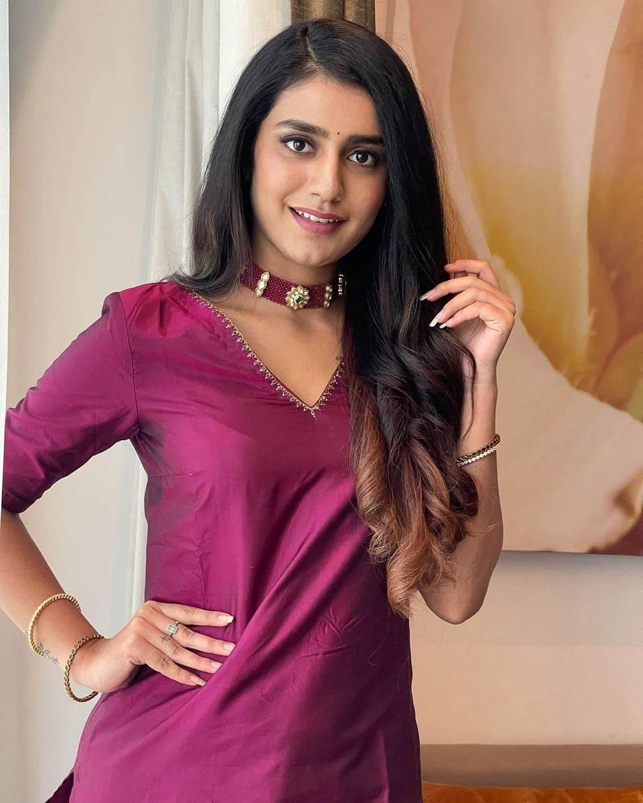 Priya Prakash Varrier in a burgundy kurta set by Paris De Boutique for Ishq promotions