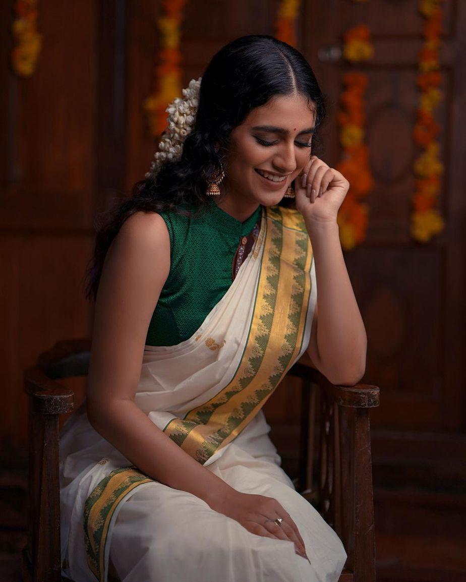 Priya Prakash varrier in a kasavu saree for ajio life-1