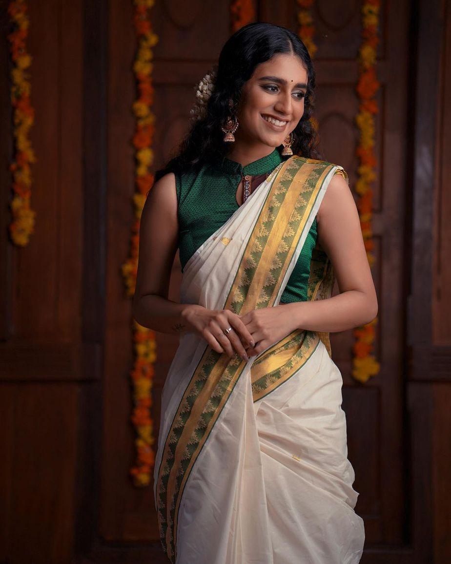 Priya Prakash varrier in a kasavu saree for ajio life