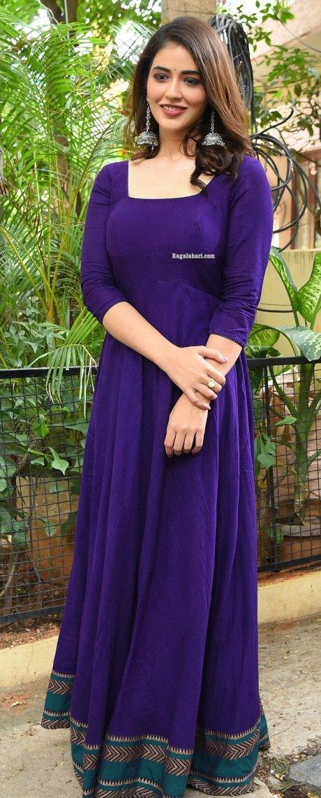Priyanka jawalkar in a blue anarkali for sr kalyanamandapam movie interview-2