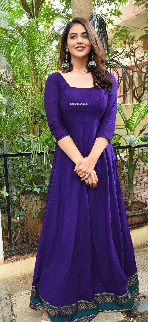 Priyanka jawalkar in a blue anarkali for sr kalyanamandapam movie interview