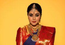 Purnaa in navy blue pattu saree by Brand mandir for Dhee kings-3