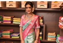 Payal Rajput in a sky blue saree by Vedic weaves for shop opening-1