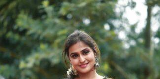 Ramya Nambessan in a balck and white saree by studio virupa-4