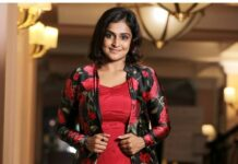 Ramya Nambessan in a red dress and jacket by Yoshnas-1