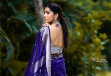 Rashmi Gautam in a navy blue saree by the pallu shop -4
