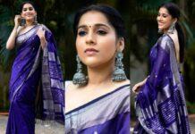Rashmi Gautam in a navy blue saree by the pallu shop -featured