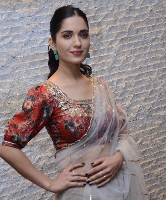 Ruhani Sharma in a sheer saree by Geetika kanumili for Nootokka Jillala Andagadu Movie Pre Release-1