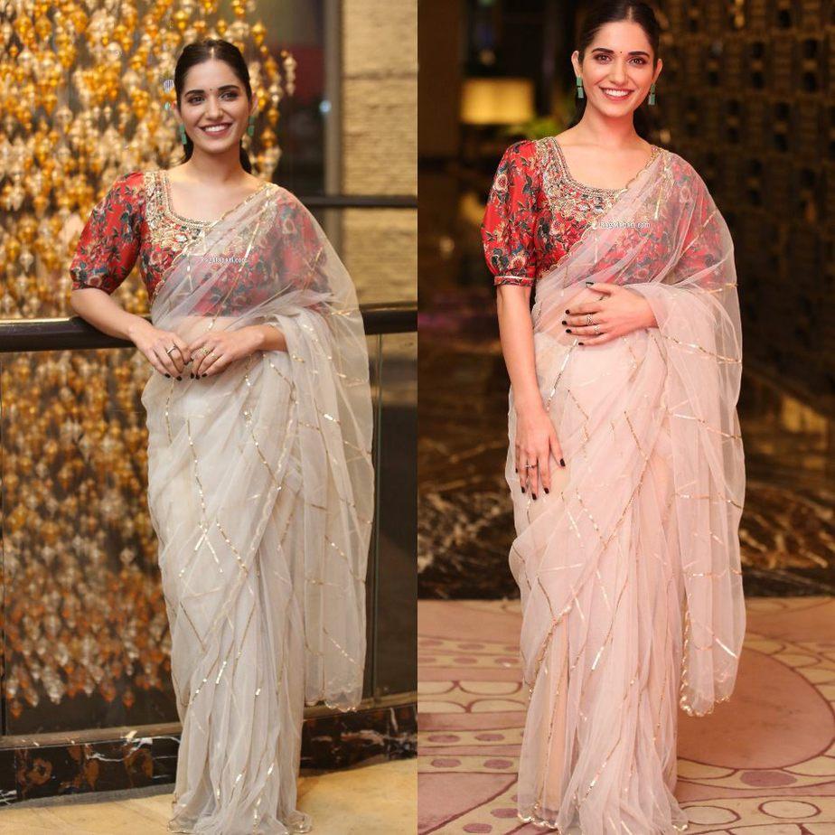 Ruhani Sharma in a sheer saree by Geetika kanumili for Nootokka Jillala Andagadu Movie Pre Release-5