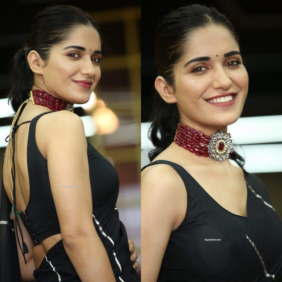 Ruhani sharma in black rouka saree for Nootokka Jillala Andagaadu interview-2