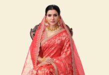 Samantha Akkineni in a red saree from golden threads by Kavitha gutta