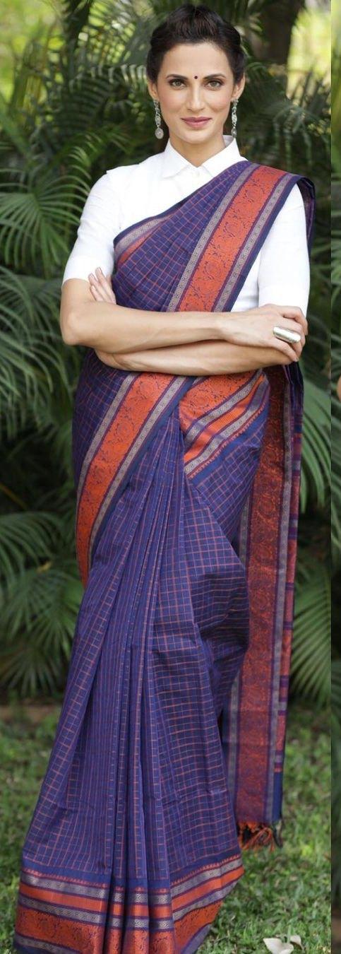 Shilpa Reddy in a navy blue Kanchi pattu saree by kankatala-2