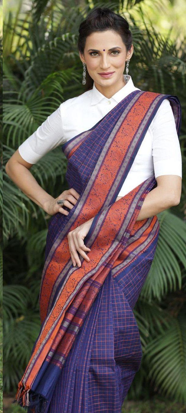 Shilpa Reddy in a navy blue Kanchi pattu saree by kankatala-3