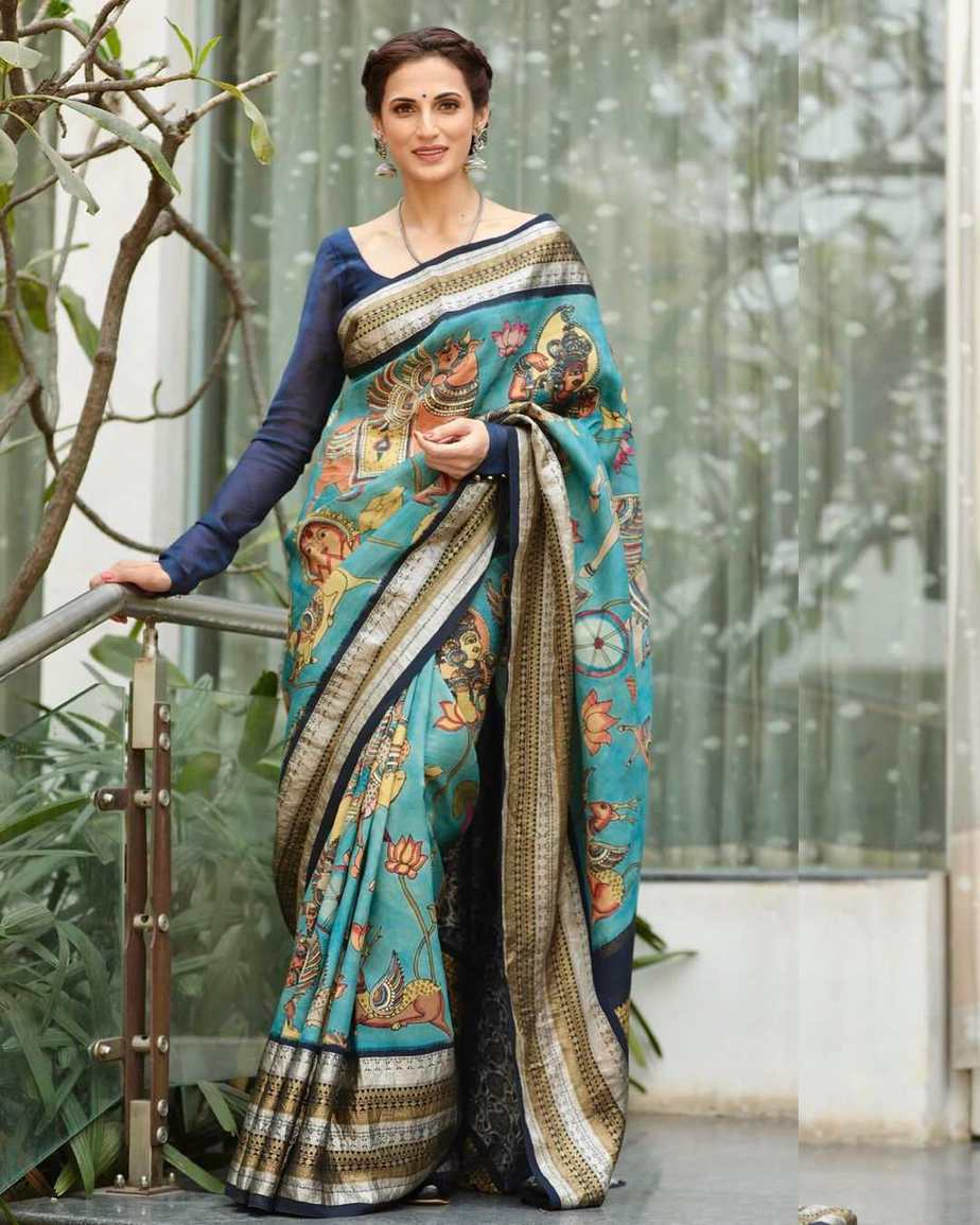 Shilpa reddy in kalamkari saree by kankatala for q&a-1