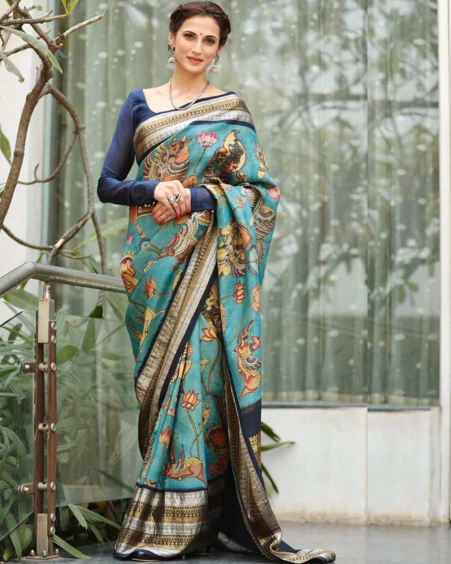 Shilpa reddy in kalamkari saree by kankatala for q&a