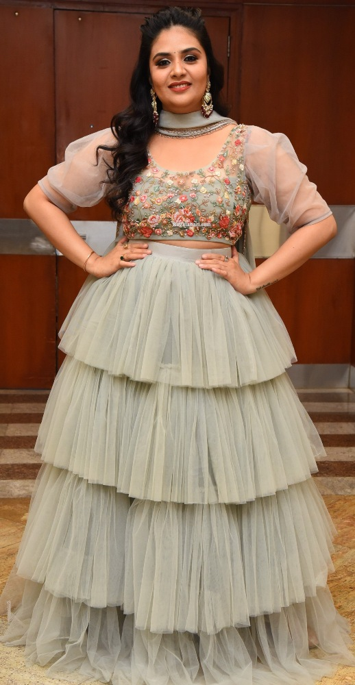 Sreemukhi in a grey tulle lehenga at Crazy uncles pre-release