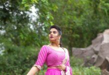 Sreemukhi in a lilac lehnga by nyra for ala brundavanamlo