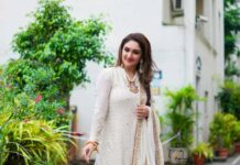 Sridevi Vijaykumar in a white outfit from atelier stores for comedy stars