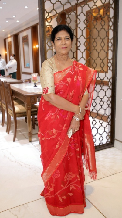 Surekha Konidela in a red saree for a store opening
