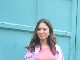 Tamannaah Bhatia in a pink bodycon dress at Maddock films-1