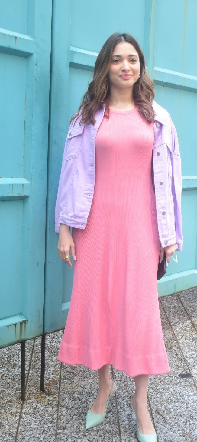 Tamannaah Bhatia in a pink bodycon dress at Maddock films-3