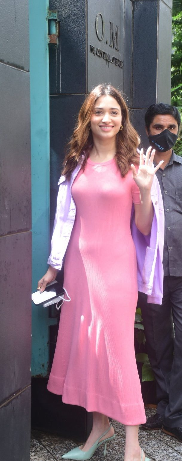 Tamannaah Bhatia in a pink bodycon dress at Maddock films-4