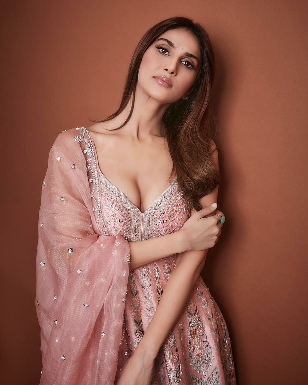 Vaani Kapoor in anita dongre outfit for bell bottom promotions-2