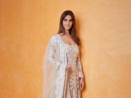 Vaani kapoor in white kalidaar by manish malhotra for _Bell Bottom_ trailer launch