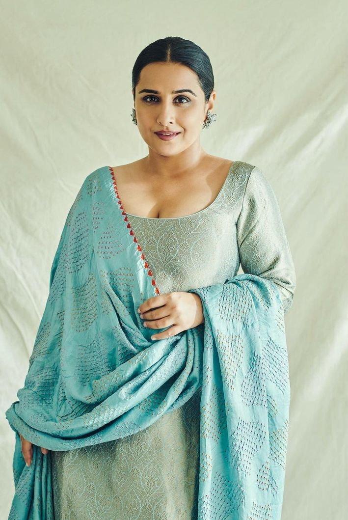 Vidya Balan in a blue brocade sharara set by Sangeeta kilachand-1
