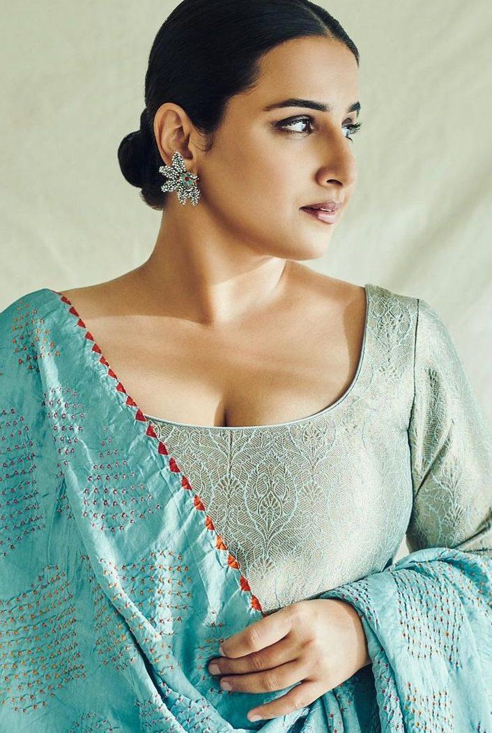 Vidya Balan in a blue brocade sharara set by Sangeeta kilachand-2