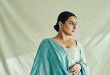 Vidya Balan in a blue brocade sharara set by Sangeeta kilachand