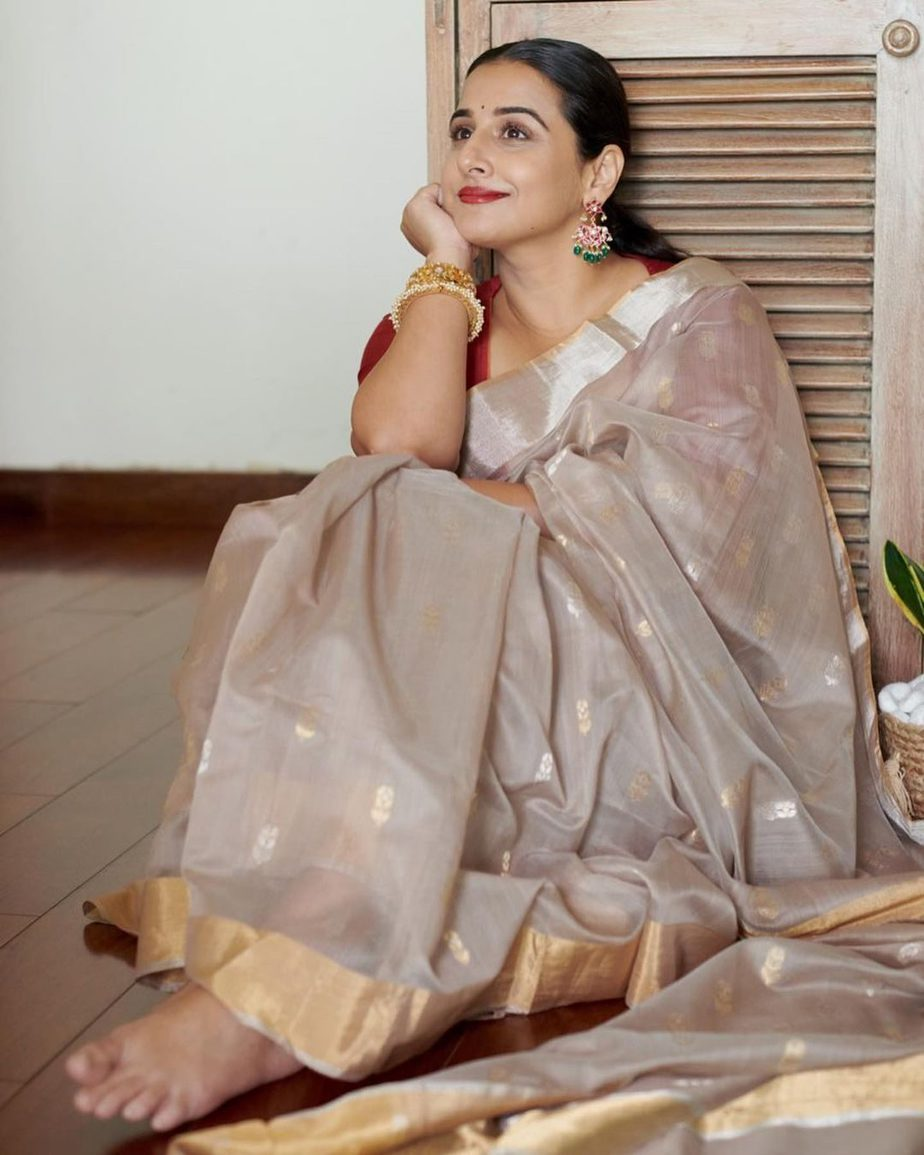 Vidya Balan in hazelwood saree by Maati crafts