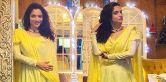 ankita lokahnde in yellow suit