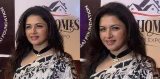 bhagyashree in black and white saree