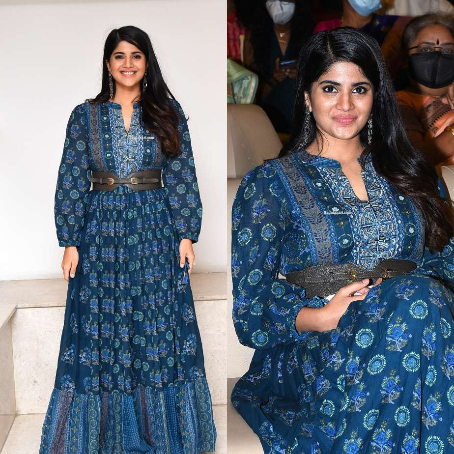 megha akash in an indigo outfit for raja raja chora pre-relase event-1