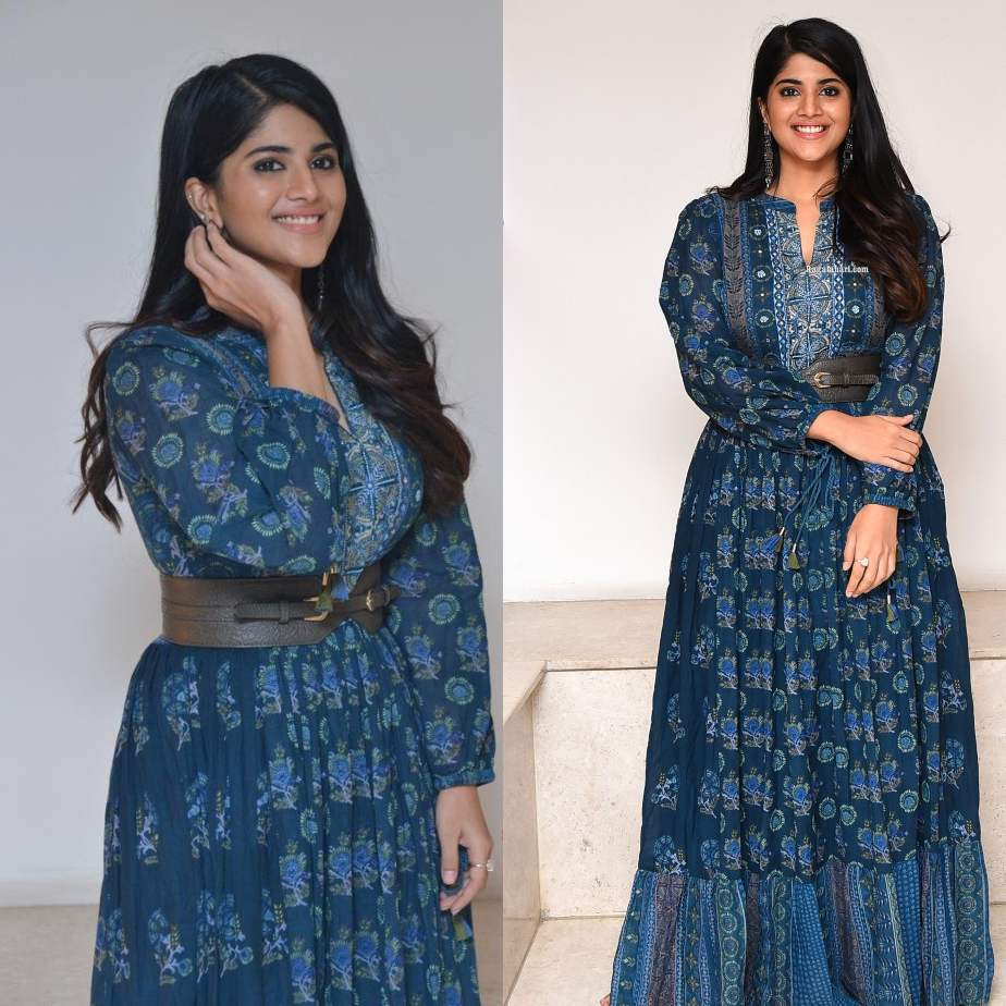 megha akash in an indigo outfit for raja raja chora pre-relase event-2