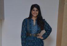 megha akash in an indigo outfit for raja raja chora pre-relase event