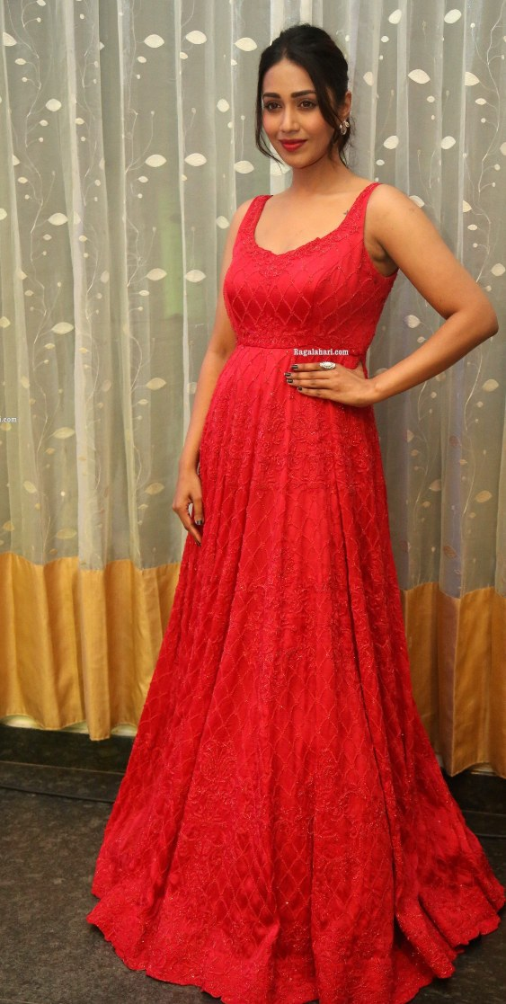 nivetha pethuraj in a red gown for pagal pre-release event-1