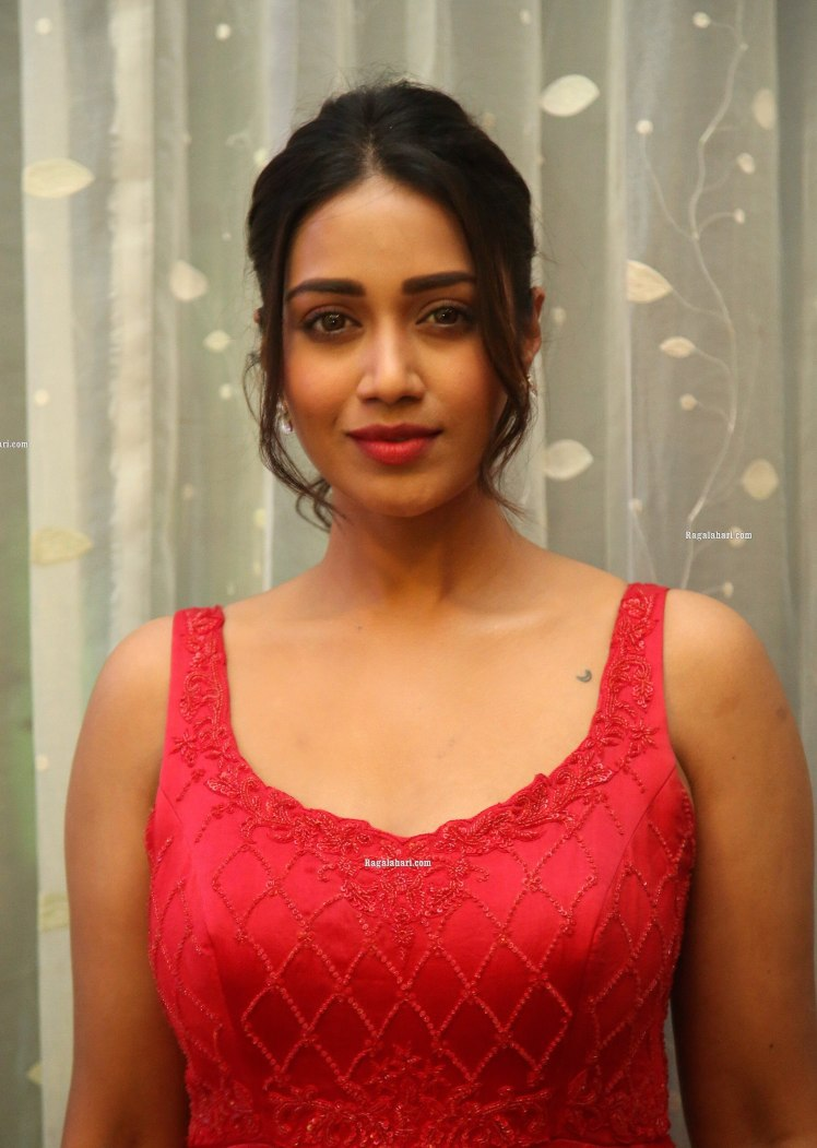 nivetha pethuraj in a red gown for pagal pre-release event-3