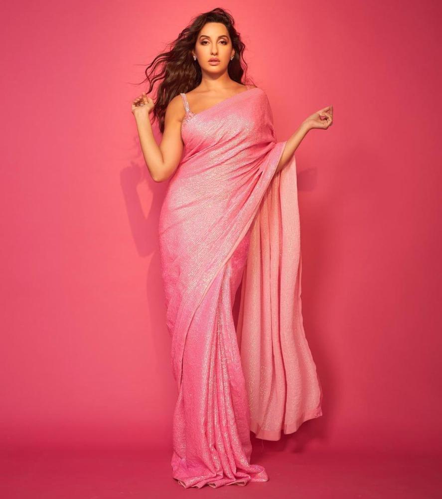 Nora fatehi in pink saree from label akanksha gajria