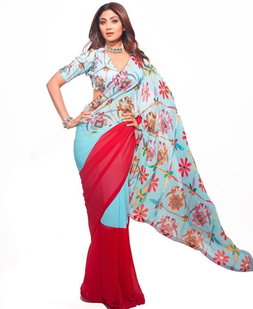shilpa shetty in Mayyur Giotra saree