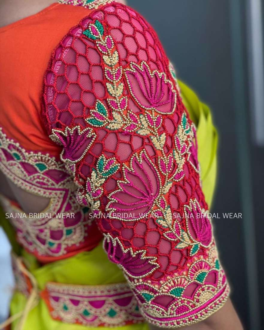 sleeve design for maggam blouses by sajna bridal wear-8