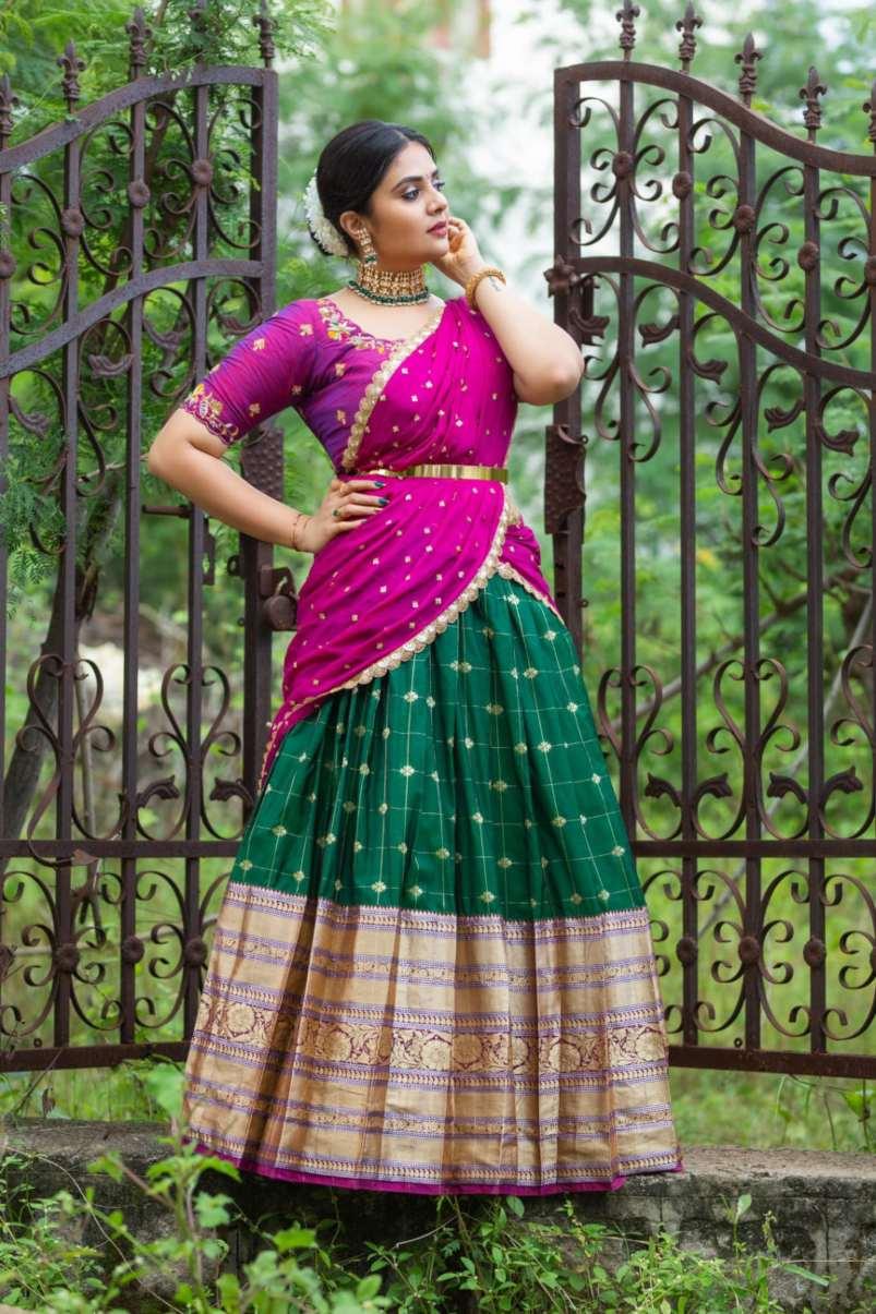 sreemukhi in purple half saree by varahi art studio for sravanamasam vachindamma-1
