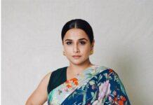 vidya balan in floral print saree for sherni promotion