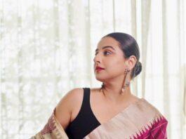 vidya balan in raw silk saree